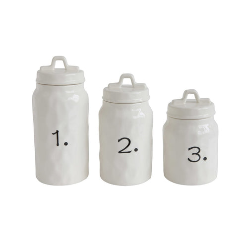 White Ceramic Canisters with Numbers Set of 3 Sizes