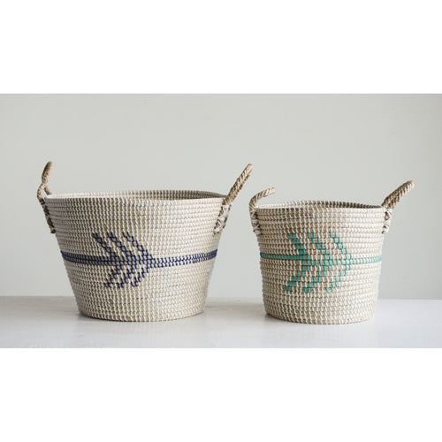 Set of 2 Natural Seagrass Baskets with Arrows