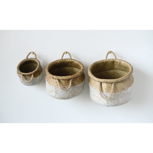 White & Beige Seagrass Baskets Set of 3 Sizes