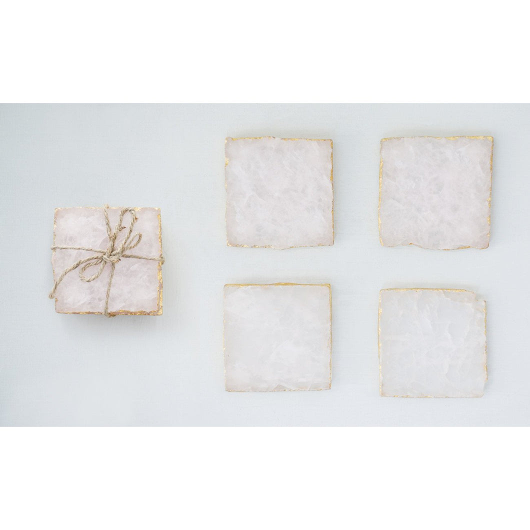 Set of 4 Pink Agate Coasters with Foil Trim