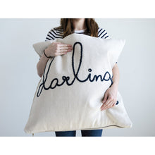 Load image into Gallery viewer, Square Cotton Cream & Blue Darling Pillow