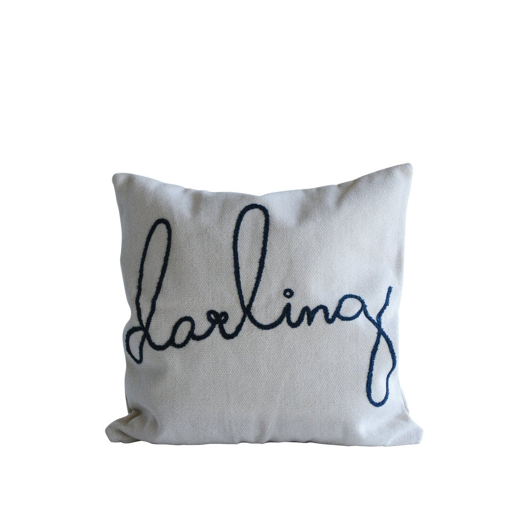 Square Cotton Cream & Blue Darling Pillow