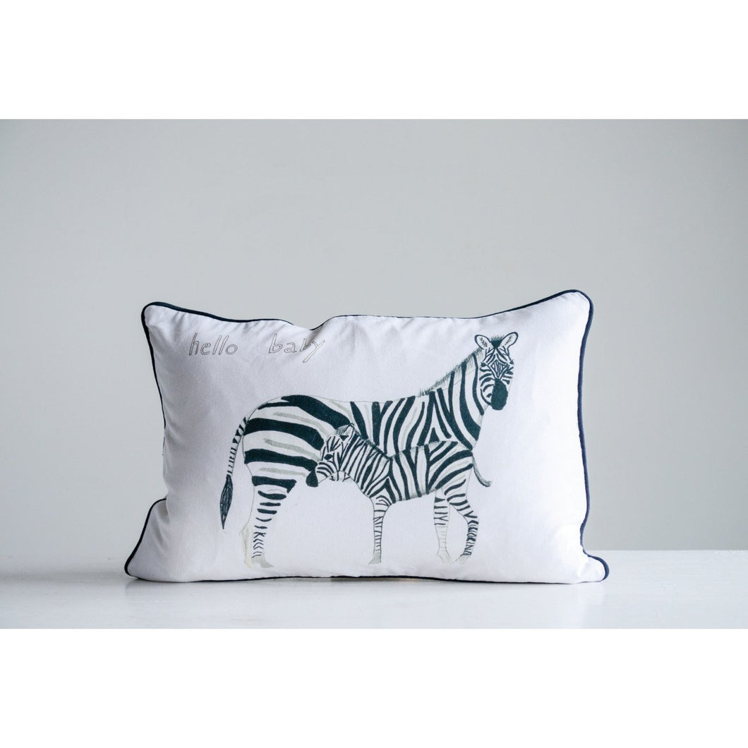 Hello Baby Cotton Pillow with  Zebras