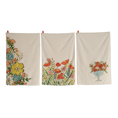 Cotton Tea Towels with Floral Images (Set of 3 Designs) Default Title
