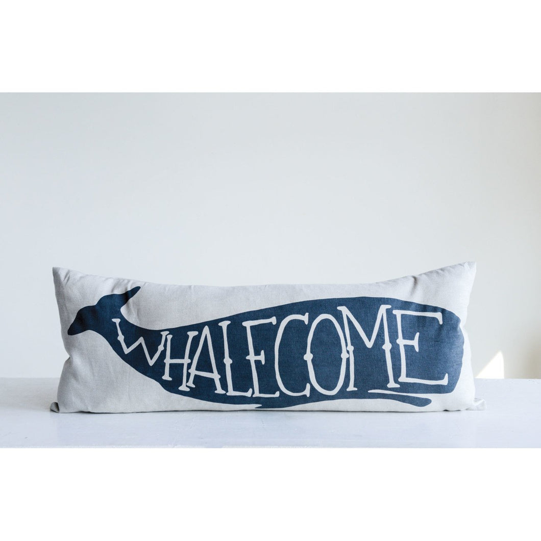 White Rectangle Cotton Pillow with Blue Whalecome