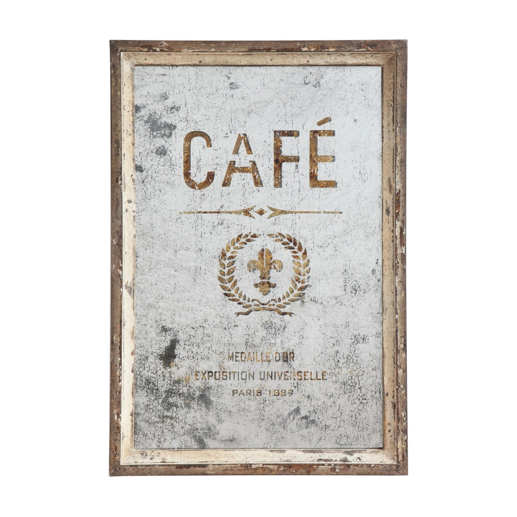 Antiqued Café Wood Framed Mirror