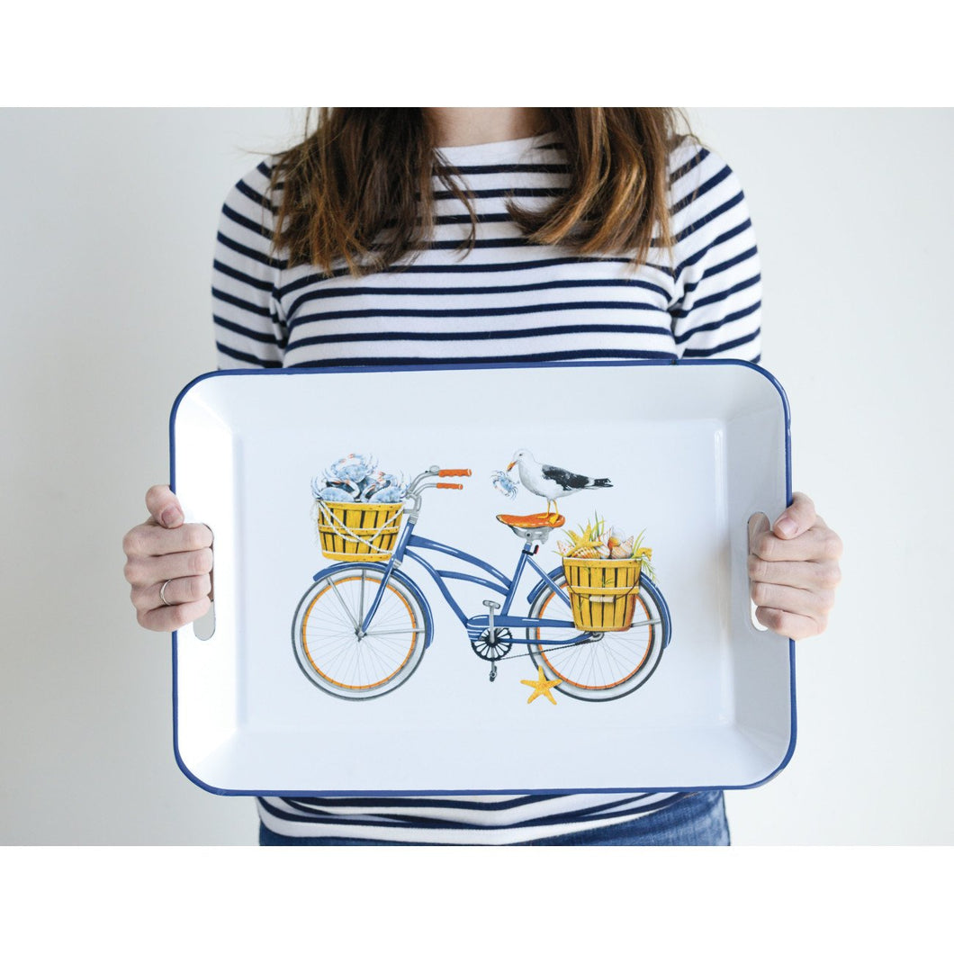 White Enameled Metal Tray with Bicycle & Seagull