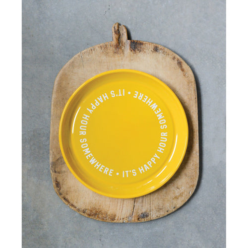 It's Happy Hour Somewhere Yellow Enameled Tray