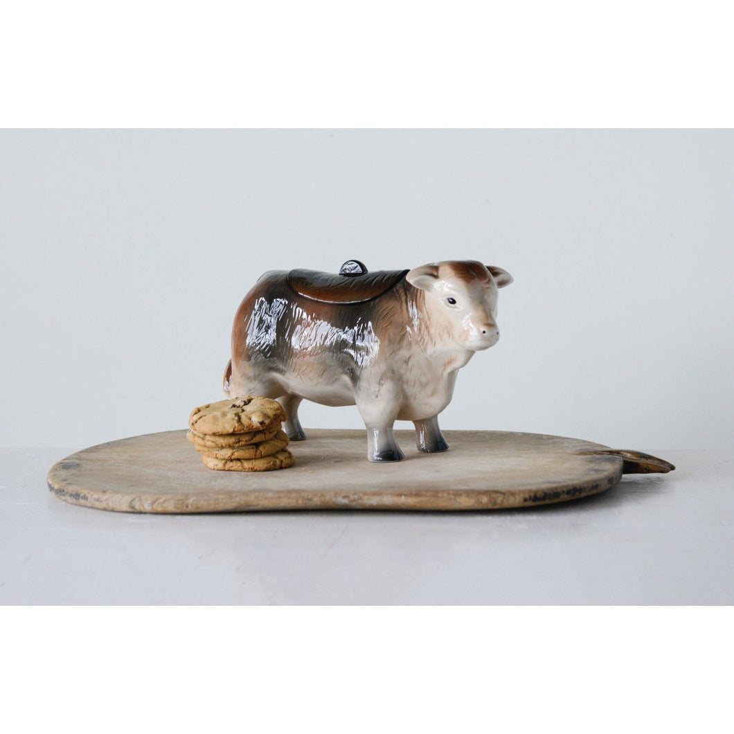 Vintage Ceramic Cow Shaped Cookie Jar