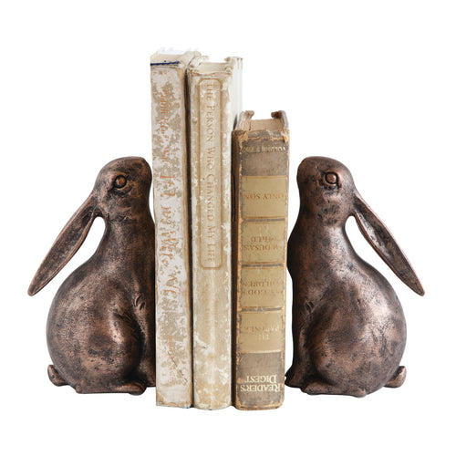 Bronze Resin Bunny Shaped Bookends (Set of 2 Pieces) Default Title