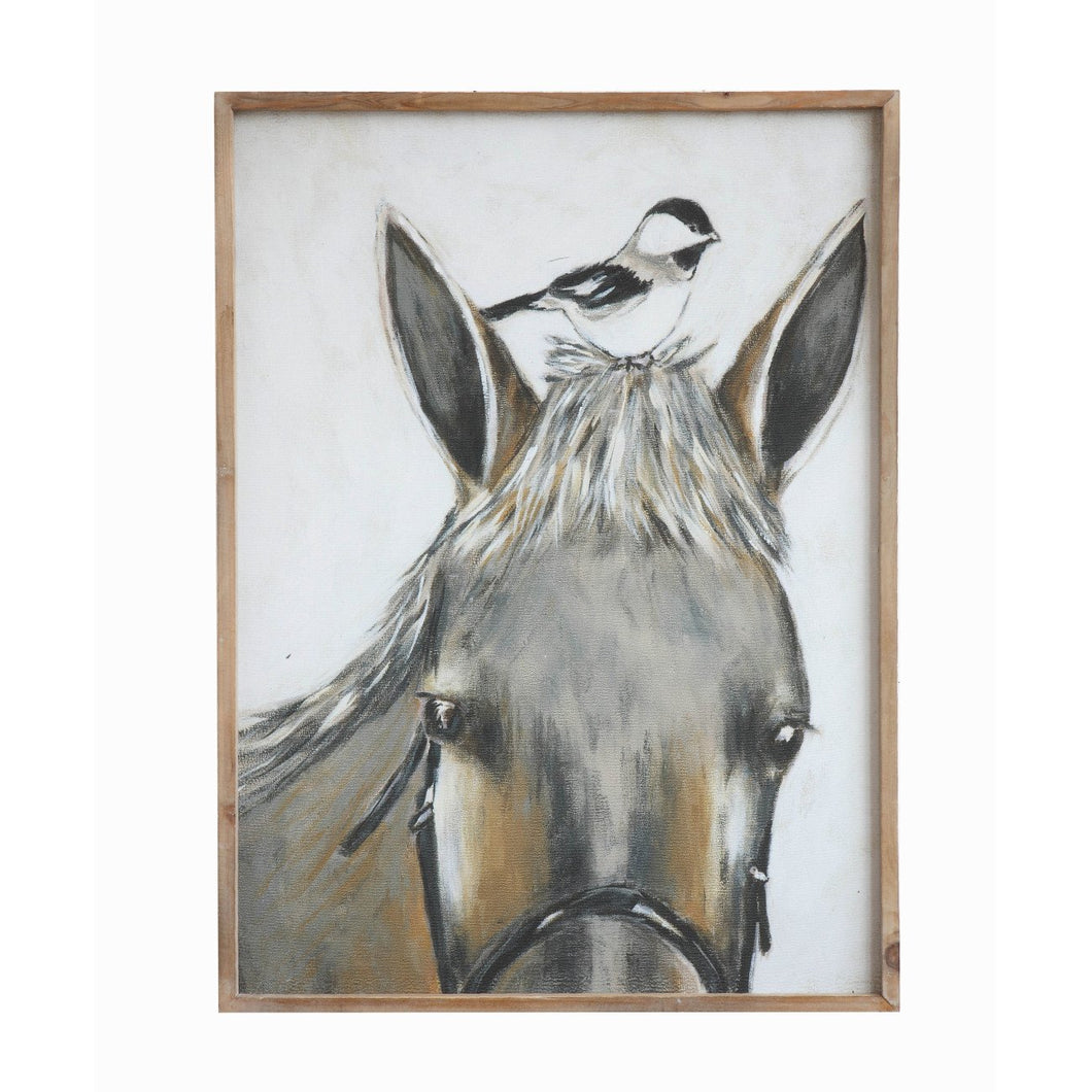 Wood Framed Horse & Bird Wall Décor