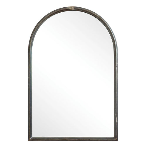 Arched Mirror with Metal Trim