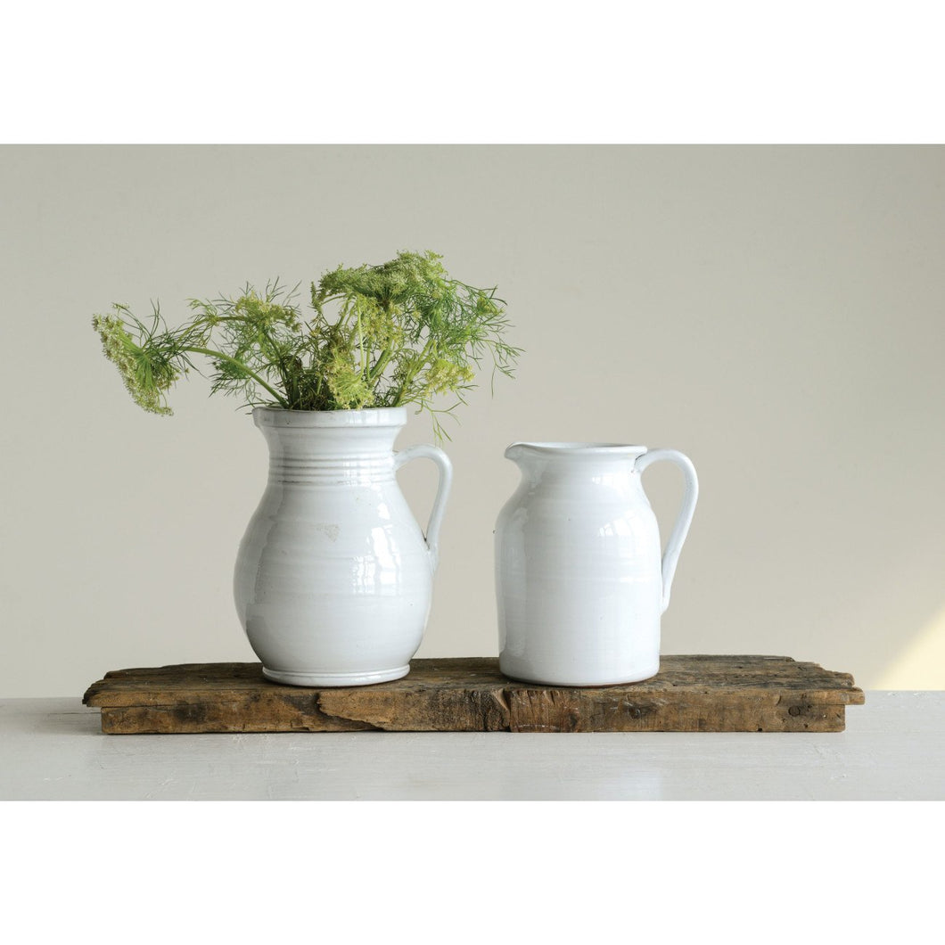 Large White Terracotta Pitcher