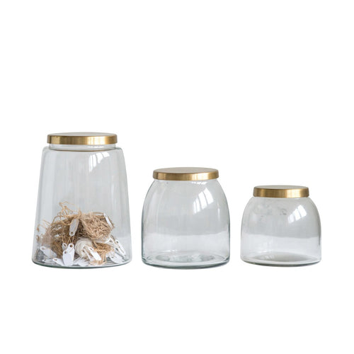 Round Glass Jars with Brass Finish Lids Set of 3 Sizes