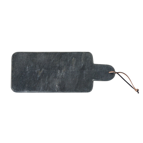Rectangular Black Marble Cutting Board with Leather Strap Default Title