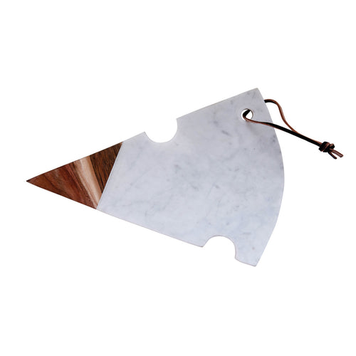 Cheese Shaped Cutting Board in White Marble & Acacia Wood Default Title