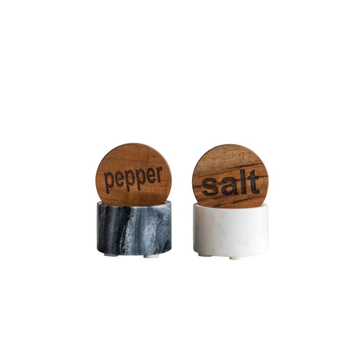 Black & White Marble Salt & Pepper Pots with Wood Lids (Set of 2 Styles) Default Title