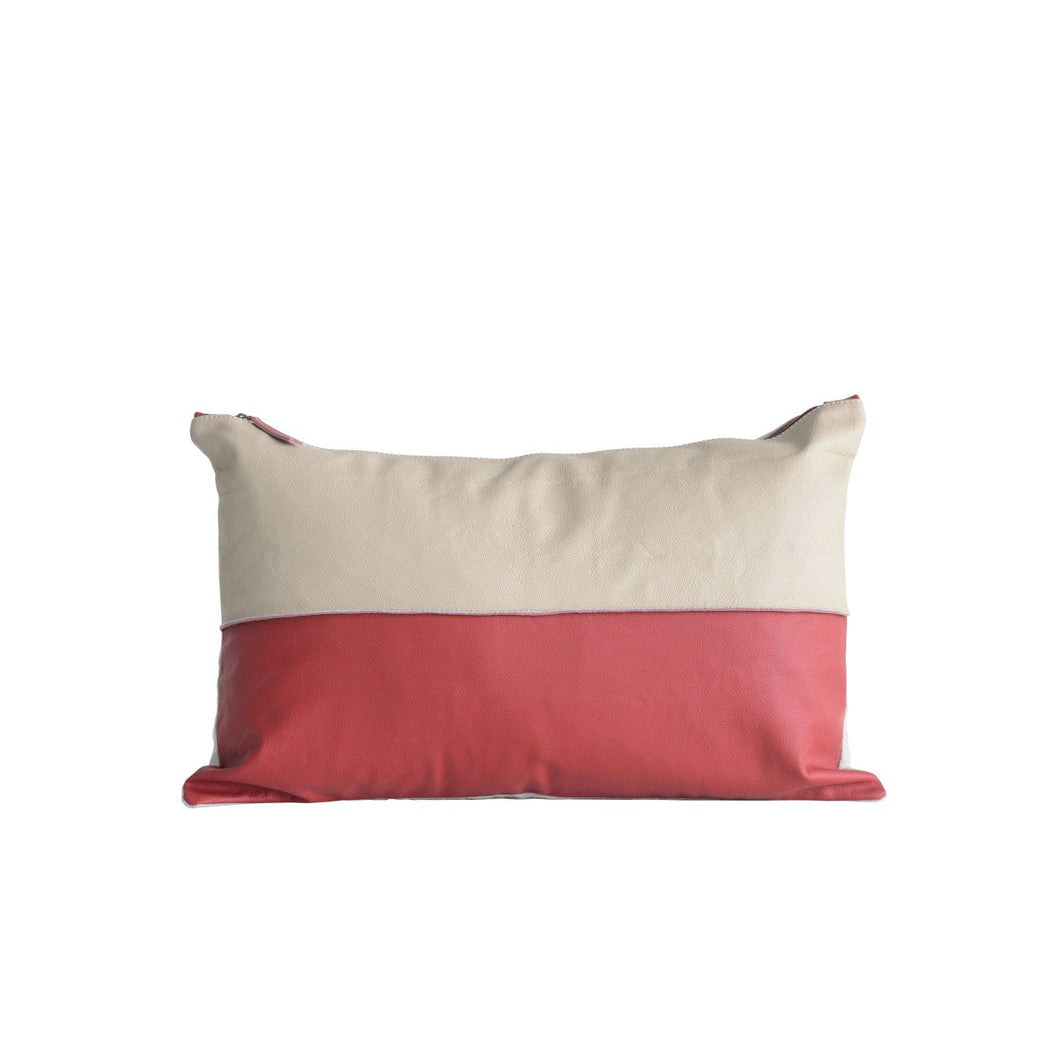 Leather Red & Tan Striped Pillow with Felt Back