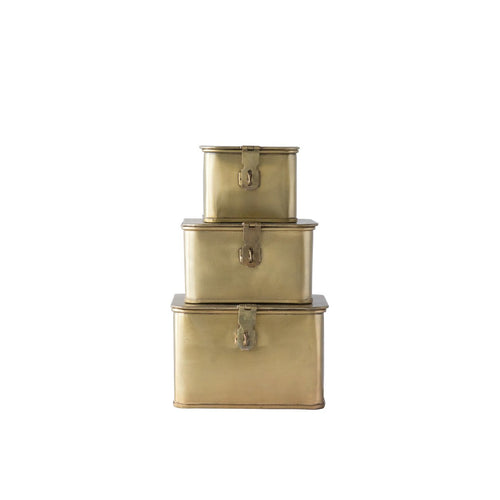 Square Decorative Metal Boxes with Gold Finish Set of 3 Sizes