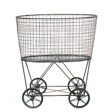 Load image into Gallery viewer, Vintage Metal Laundry Basket with Wheels