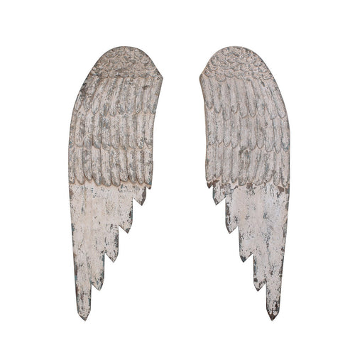 Large Decorative Wood Wall Angel Wings in Distressed Cream Set of 2 Pieces