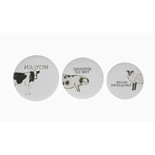 Round Tin Trays with Farm Animal Images Set of 3 Sizes/Designs