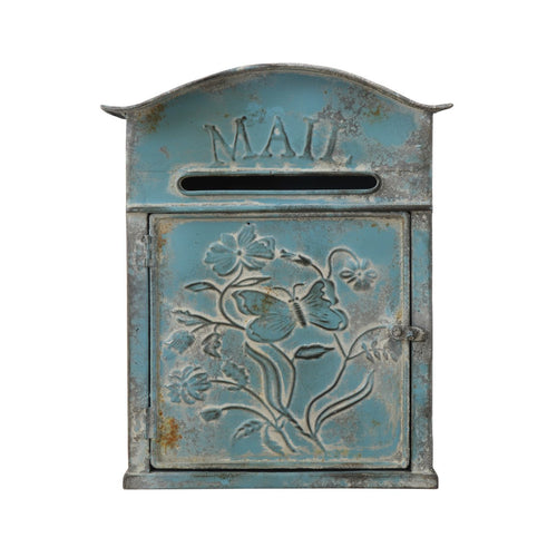 Distressed Blue Embossed Tin Mail Box