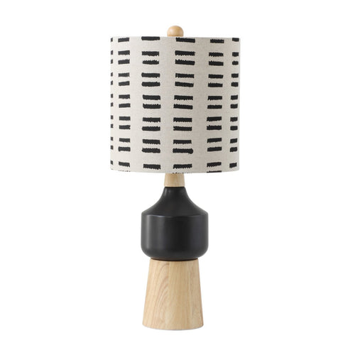 Wood & Ceramic Table Lamp with Linen  Mudcloth Pattern Shade