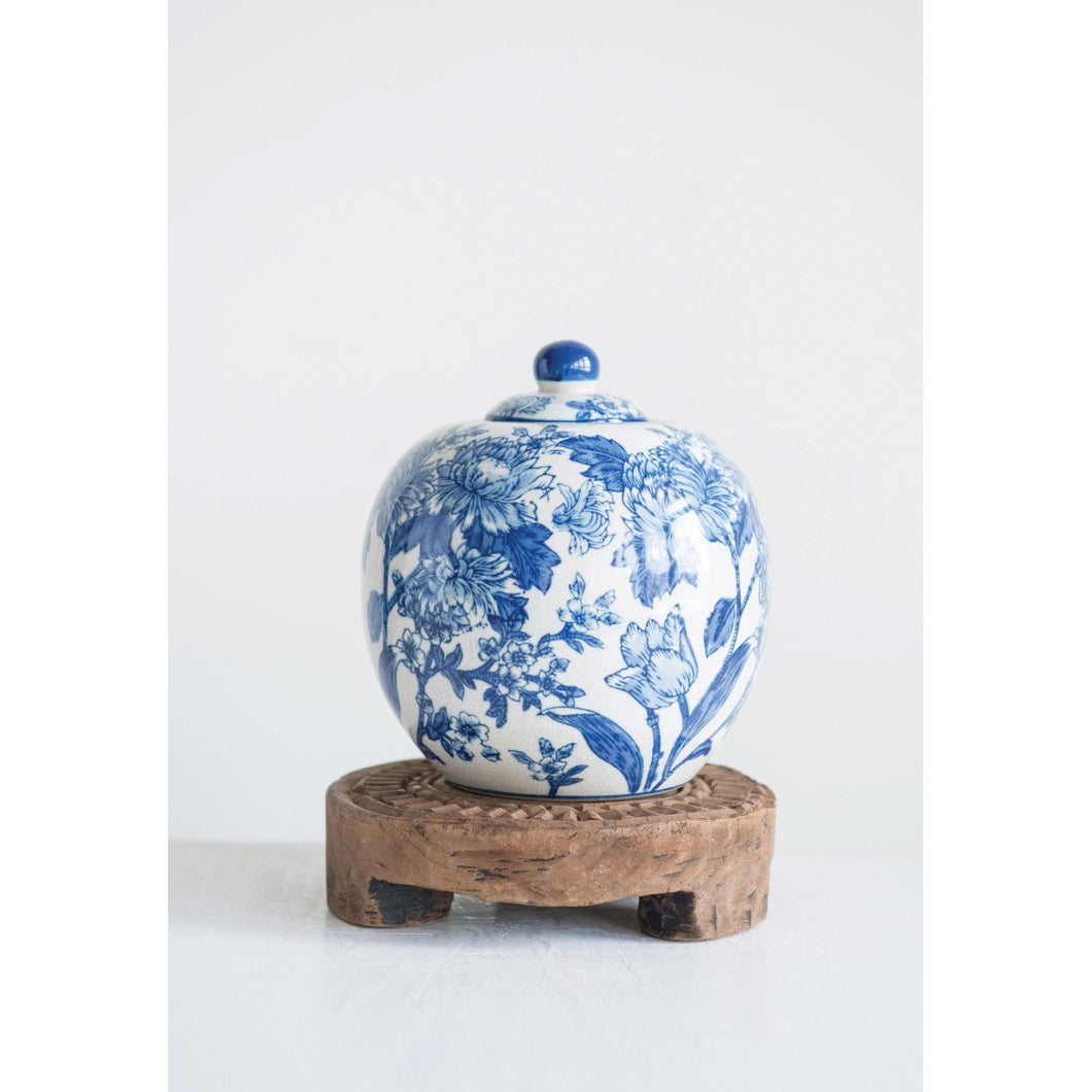 Blue & White Decorative Stoneware Jar with Lid