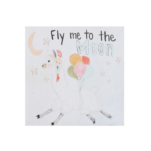 Fly Me to the Moon Square Canvas Wall Décor with Llama Image