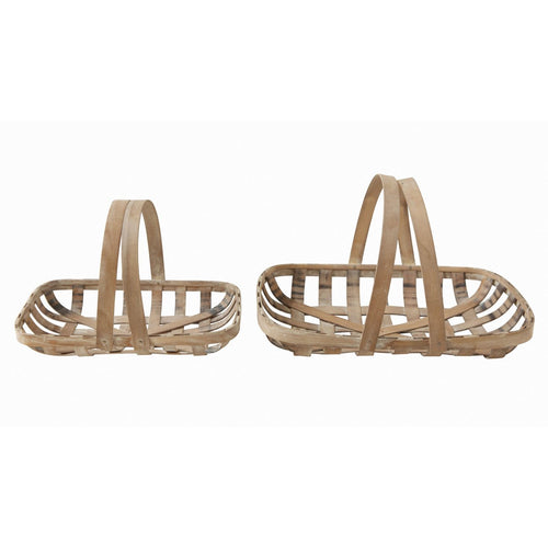 Wood Tobacco Baskets with Handles Set of 2 Sizes