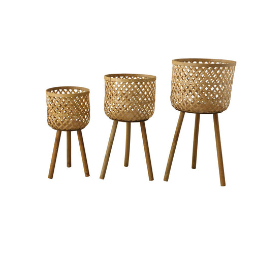 Woven Bamboo Floor Baskets with Wood Legs Set of 3 Sizes