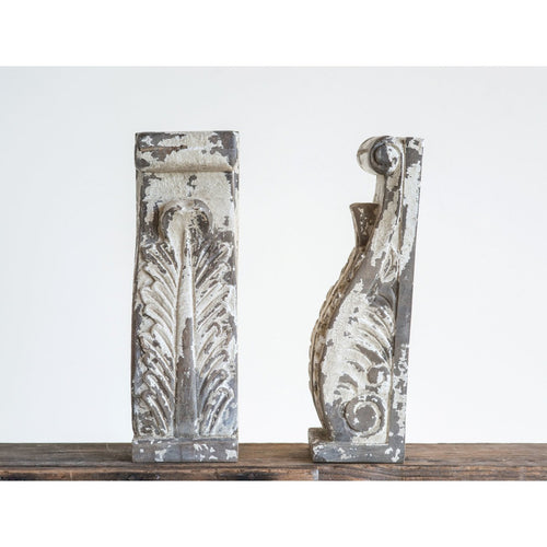 Heavily Distressed Hand Carved Mango Wood Corbels/Bookends Set of 2 Pieces
