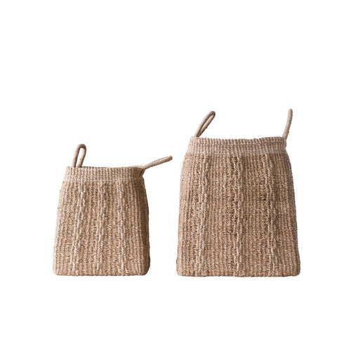 Square Abaca Baskets with Handles Set of 2 Sizes