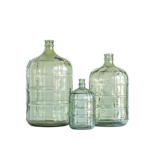 Medium Transparent Green Vintage Reproduction Glass Bottle with Embossed Windowpane Design