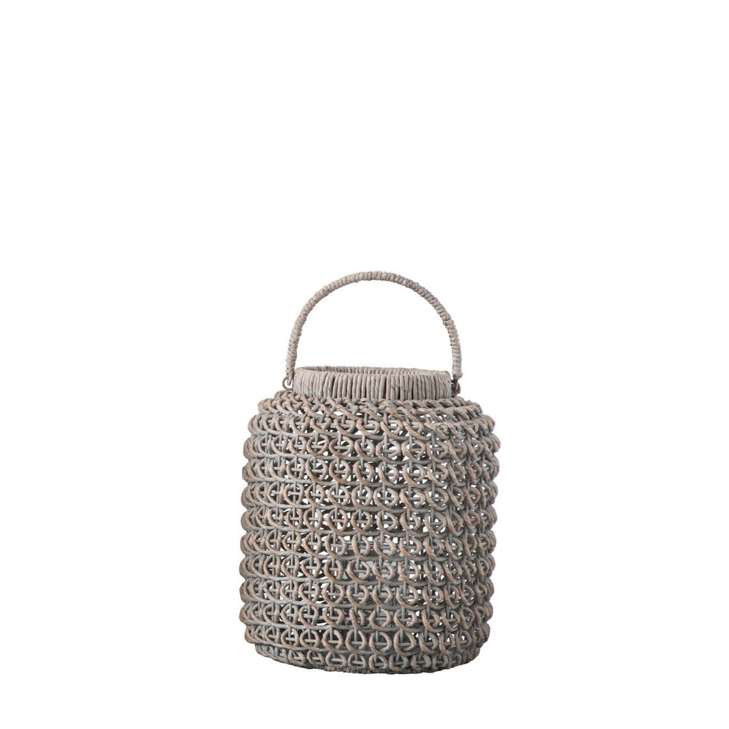 Small Whitewashed Woven Water Hyacinth Lantern with Glass Insert & Handle