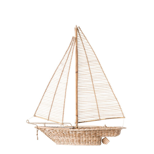 Handwoven Water Hyacinth & Rattan Sailboat