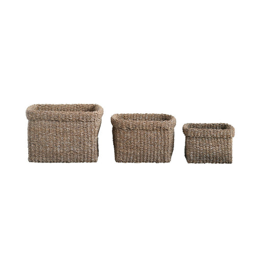 Square Natural Woven Seagrass Baskets Set of 3 Sizes