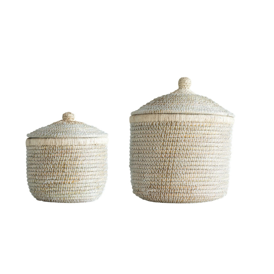 Whitewashed Woven Baskets with Lids Set of 2 Sizes
