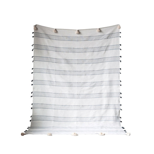 Grey & White Striped Hand-Loomed Cotton Bed Cover with Tassels