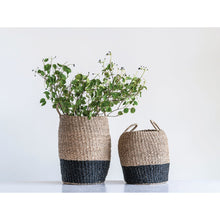 Load image into Gallery viewer, Brown & Black Woven Seagrass Baskets with Handles (Set of 2 Sizes)