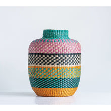Load image into Gallery viewer, Small Bright Striped Handwoven Seagrass Basket