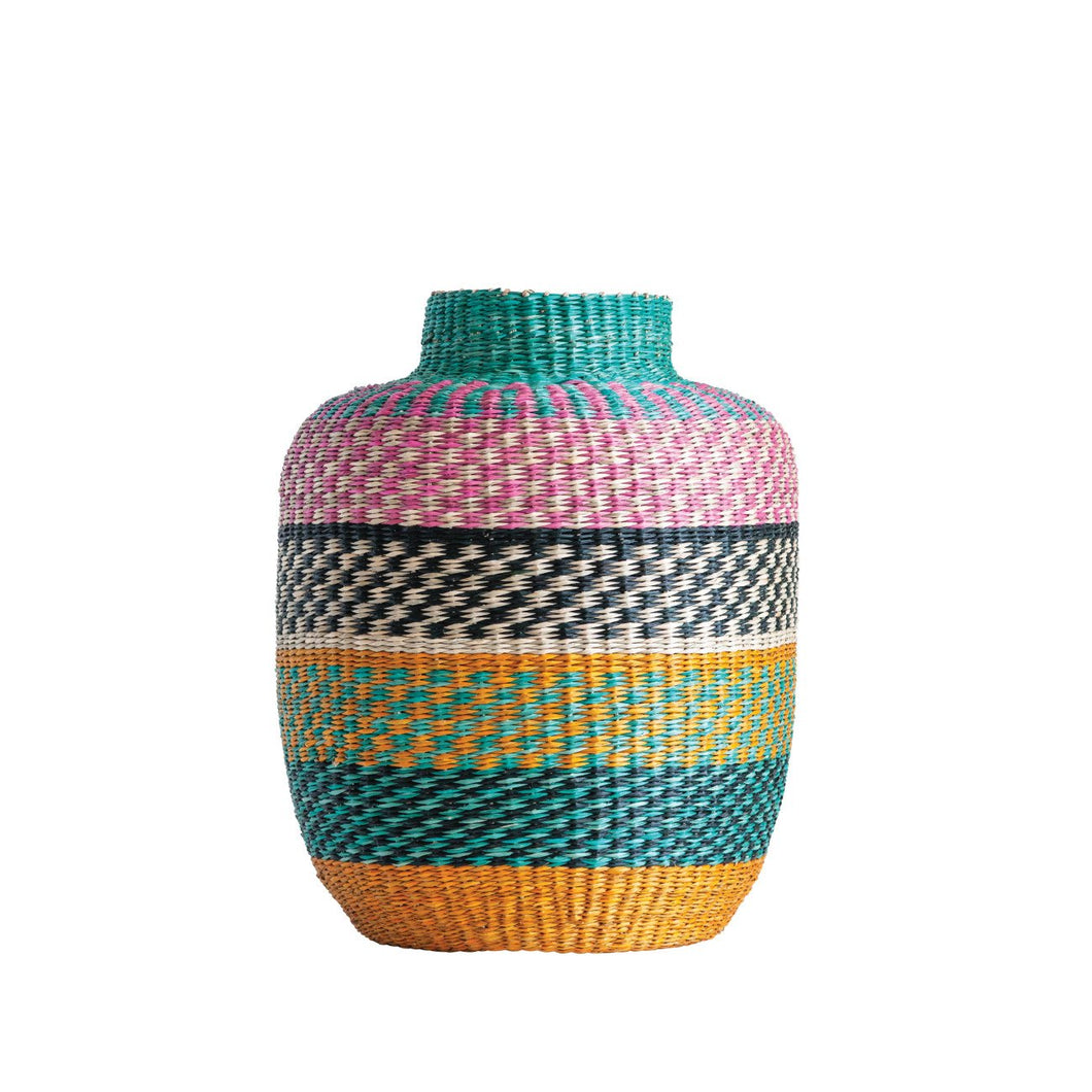 Small Bright Striped Handwoven Seagrass Basket