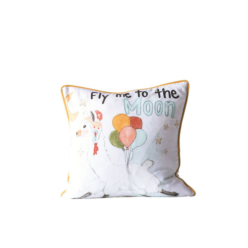 Fly Me to the Moon Square Cotton Pillow
