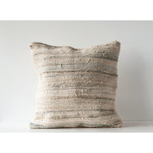 Load image into Gallery viewer, Light Multicolor Square Recycled Cotton & Canvas Chindi Pillow