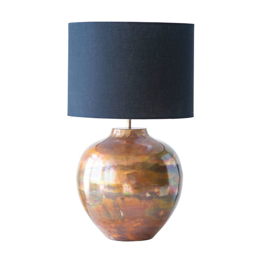 Metal Table Lamp with Copper Finish & Black Fabric Shade