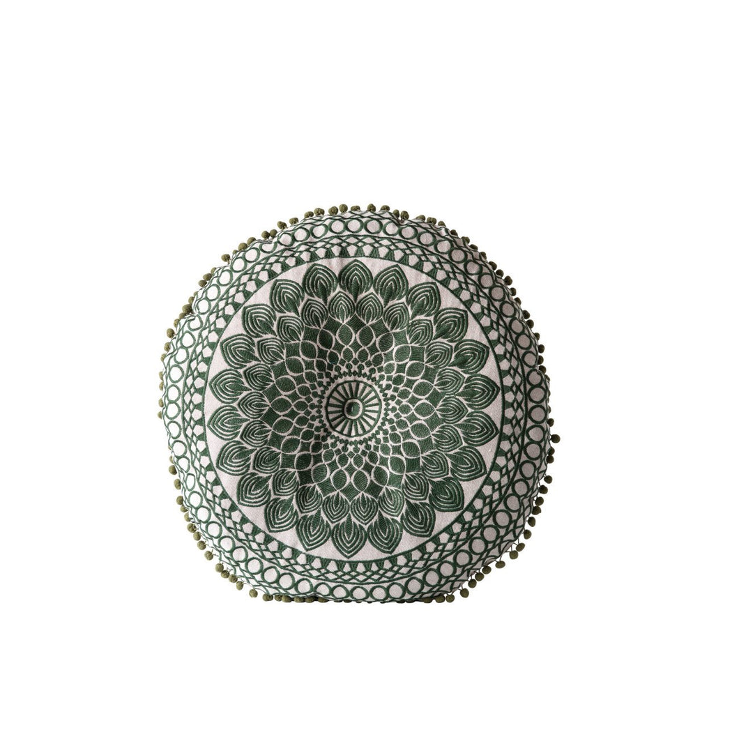 Green Round Cotton Chambray Pillow with Pom Poms