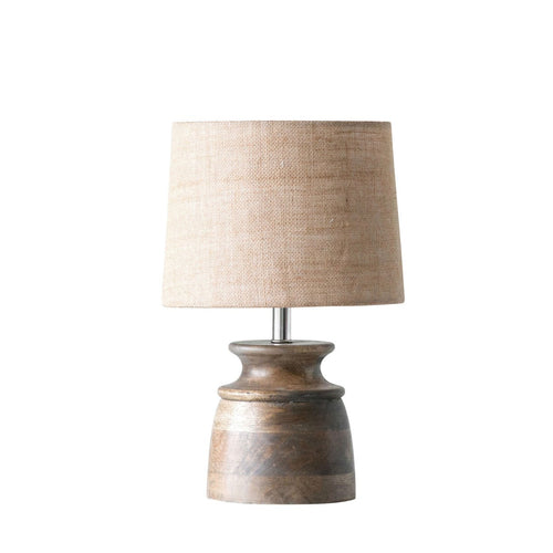 Small Wood Table Lamp with Jute Shade