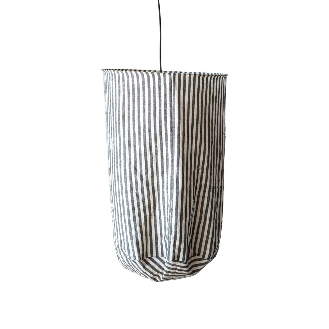 Black & White Striped Fabric Pendant Light