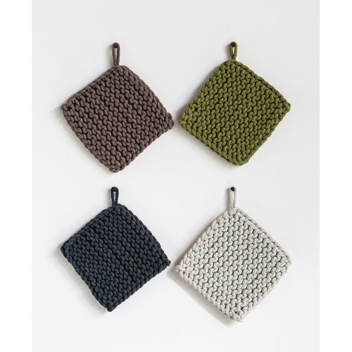Square Cotton Crocheted Pot Holder (Set of 4 Colors) Default Title